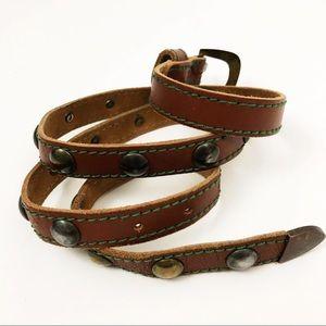 GENUINE LEATHER Italian made studded belt L